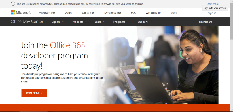 Office 365 Dev Center Registration