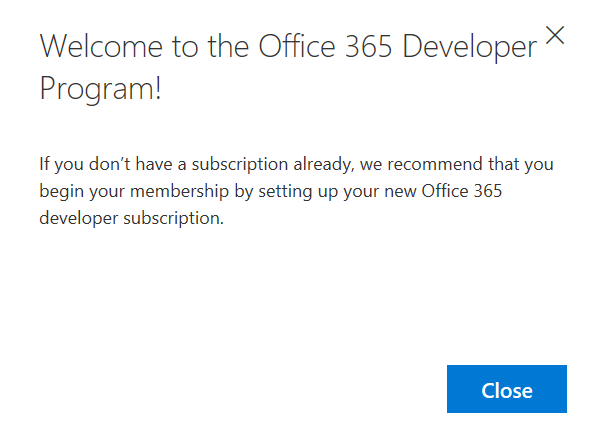 Office 365 Welcome Developer Program