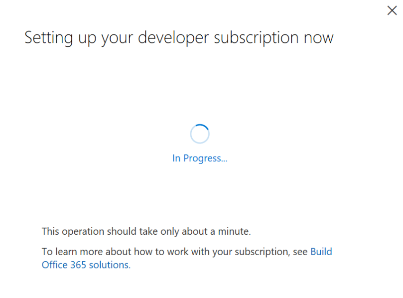 Office 365 Setting up developer subscription
