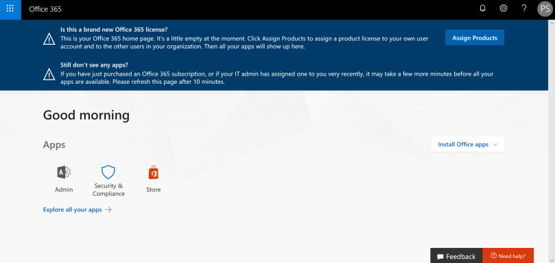 Office 365 new Developer Account Landing Page