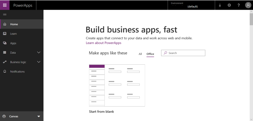 PowerApps Home Page