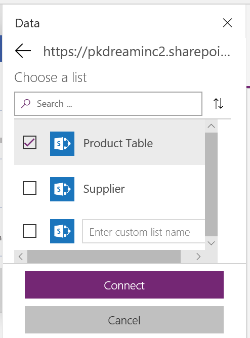 PowerApps SharePoint List Connection