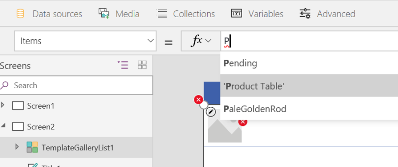 PowerApps TemplateGalleryList source