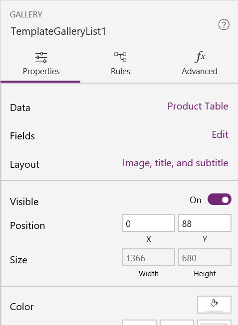 PowerApps TemplateGalleryList Property Pane
