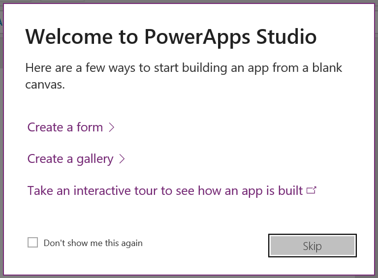 PowerApps Studio Message