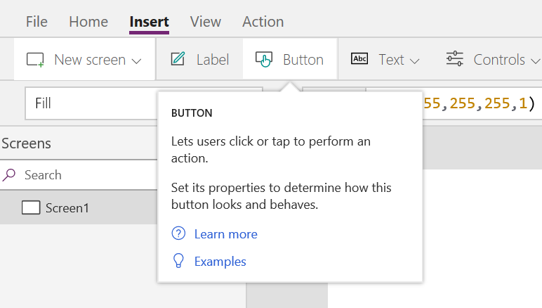 PowerApps Button Insert Option