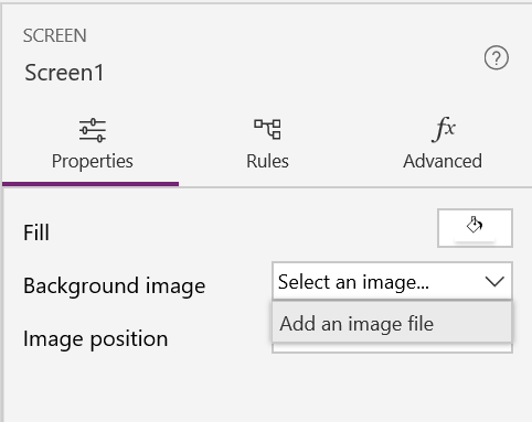 PowerApps Screen Background Image Option