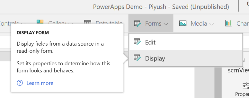PowerApps Display Form Menu