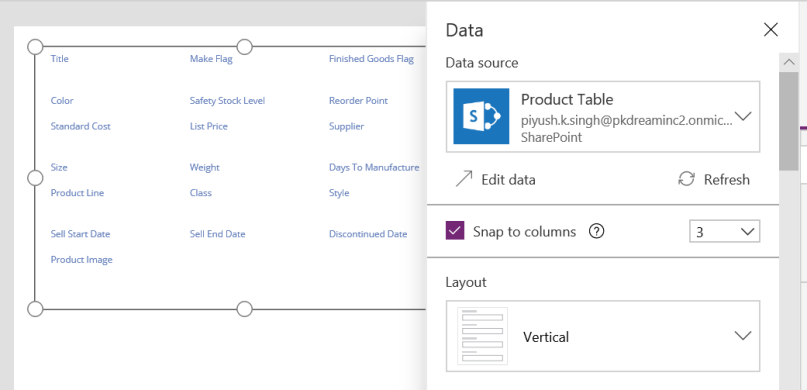 PowerApps Data Source Meta-data