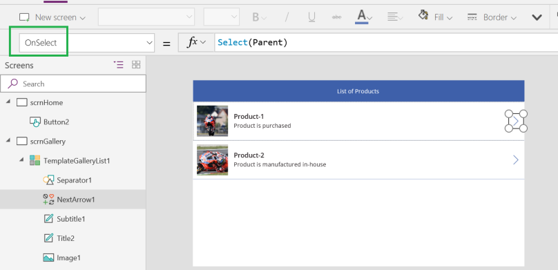 PowerApps Gallery Arrow OnSelect