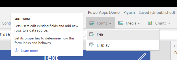 PowerApps: Add Edit Form