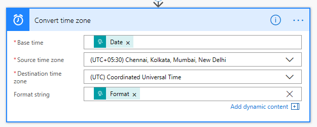 MS Flow Convert time zone UTC
