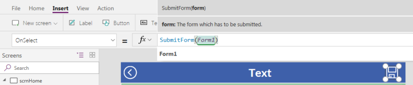 PowerApps: SubmitForm