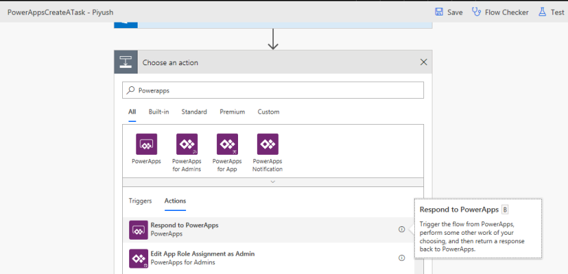 Flow: Respond to PowerApps