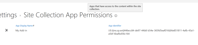 Site Collection App Permissions