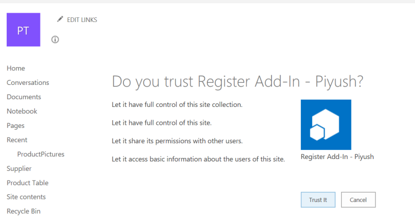 Trust Add-In