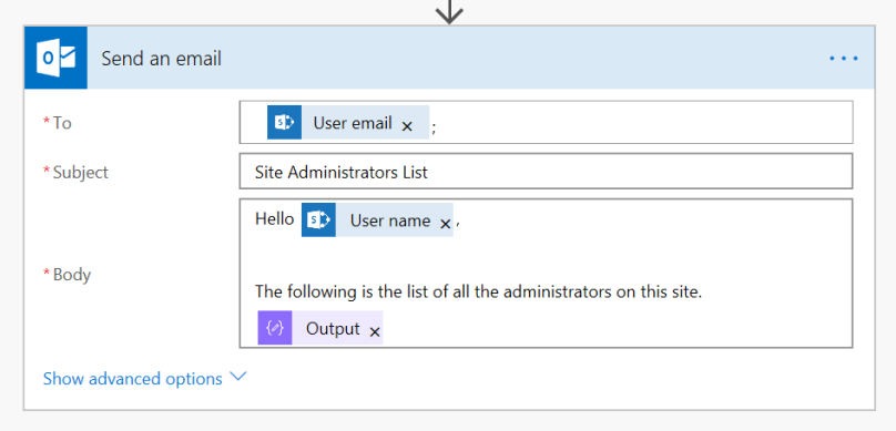 MS Flow: Send Admin list over email