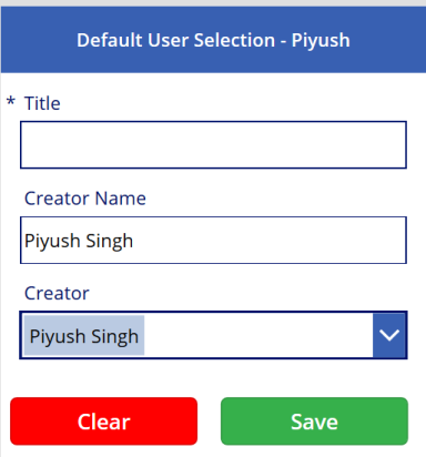 PowerApps Default User Selection