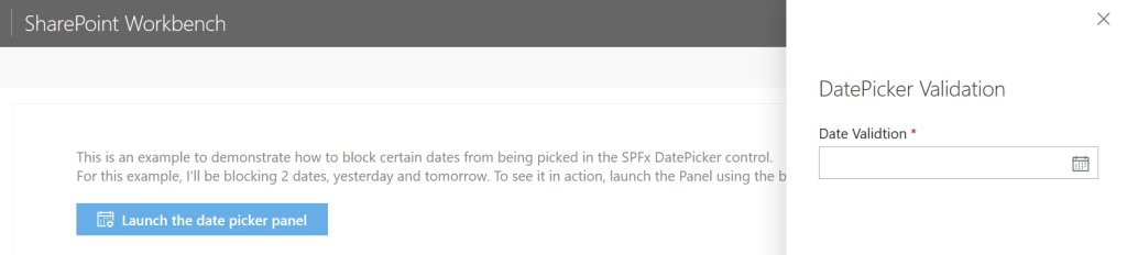 DatePicker Validation Before