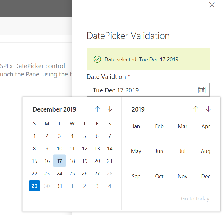 DatePicker Validation