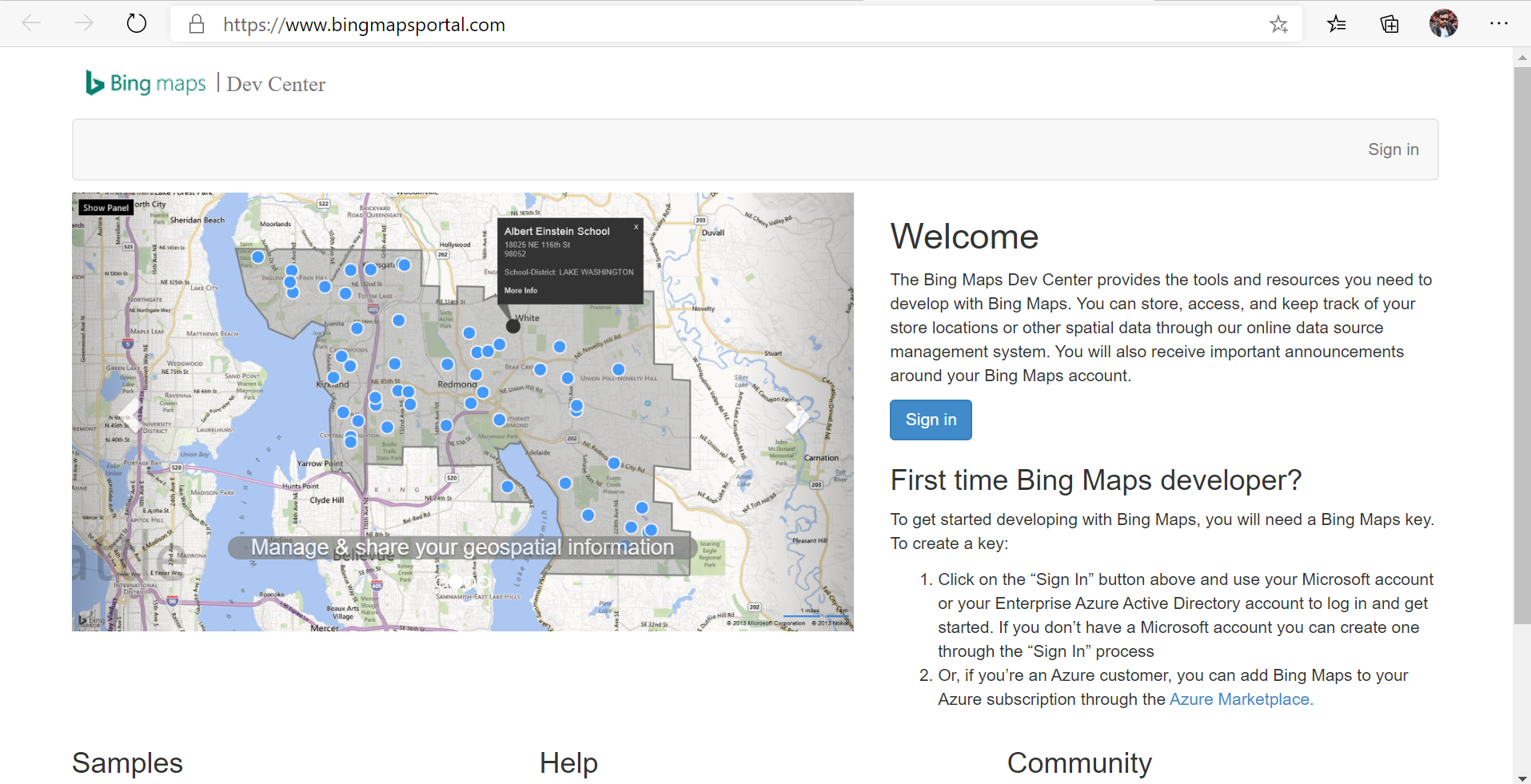 Bing Maps Dev Center