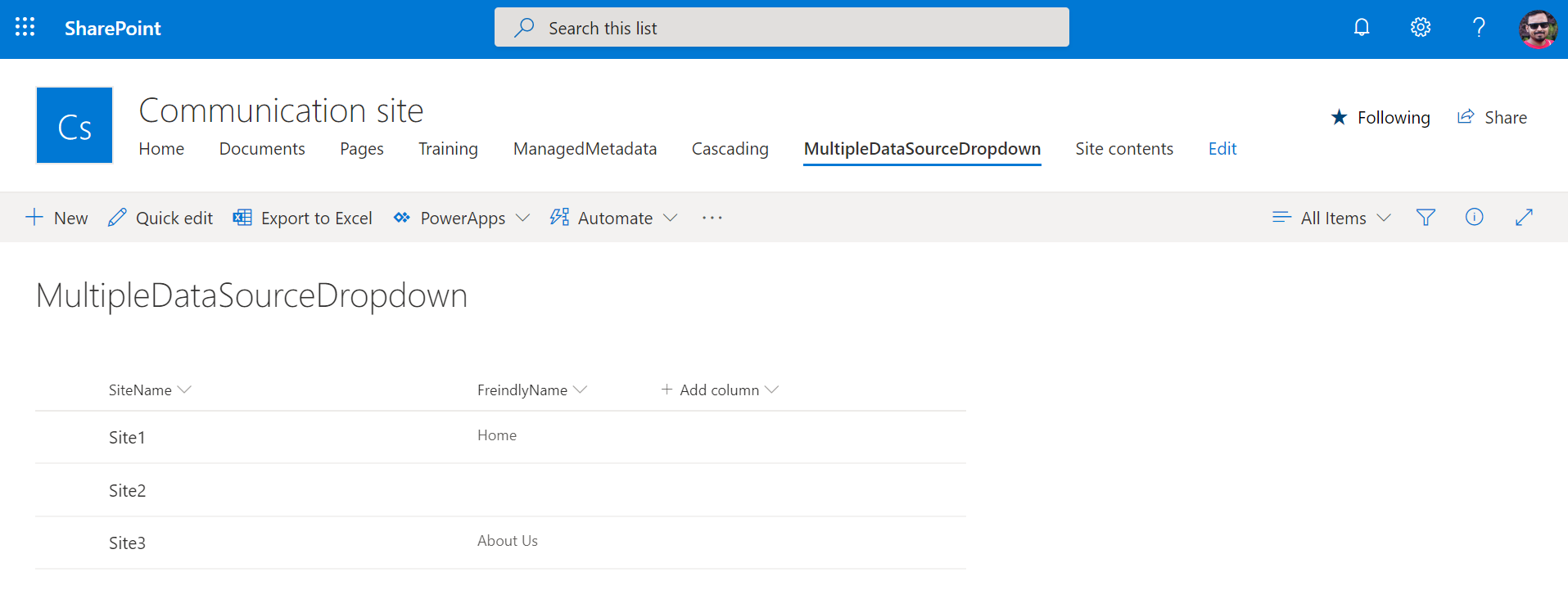 PowerApps: Master SharePoint List
