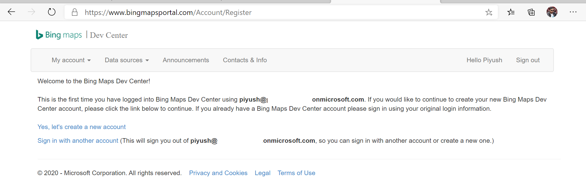 Register Bing Maps Services