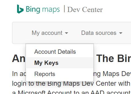 Bing Maps API My Keys