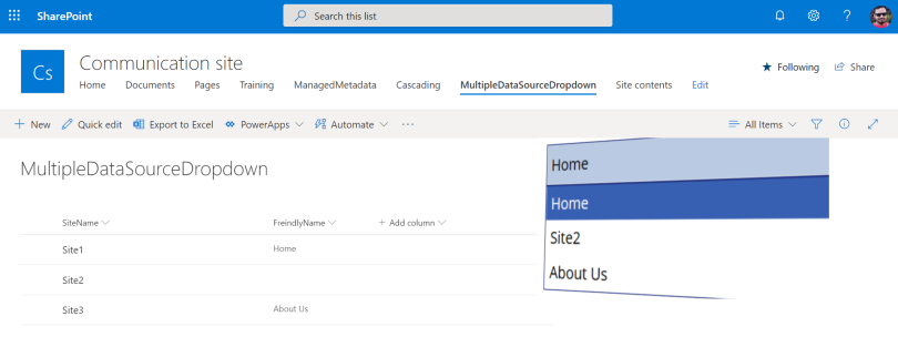 PowerApps Drop Down Multiple Source