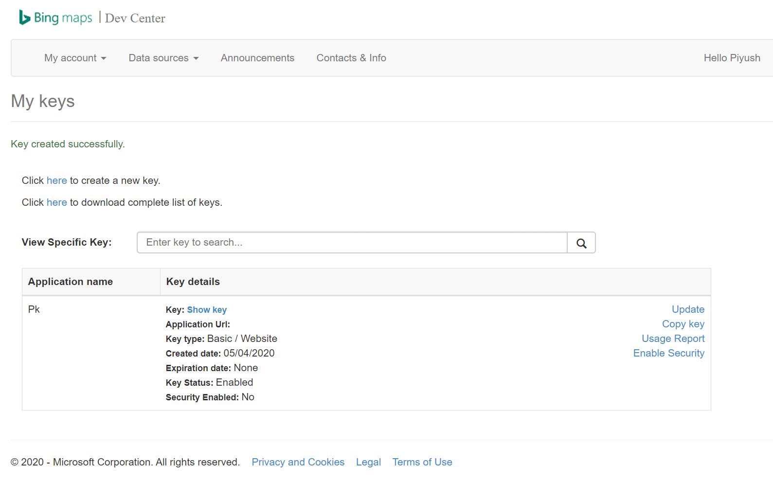 Bing Maps API Keys